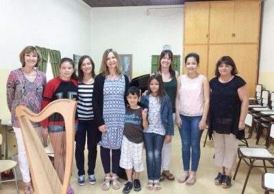 Pupils and teachers of Gaiman Music School with Sian James-4