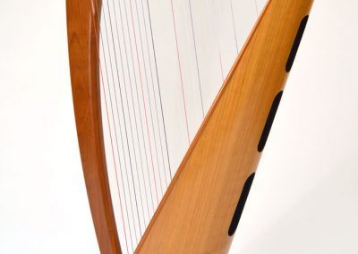 Back view of a Telynau Teifi 34-string Telor folk lever harp in cherry