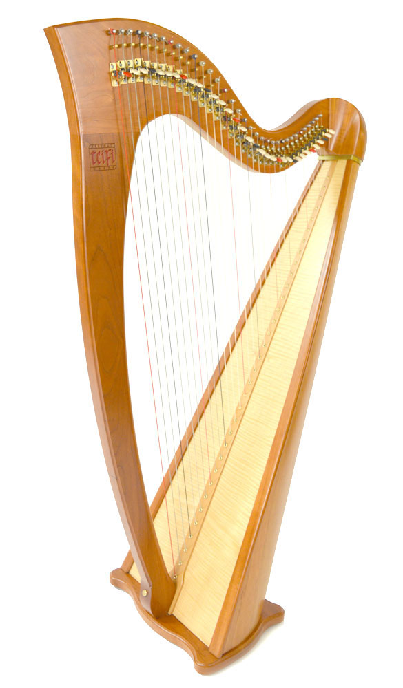 Telynau Teifi 34-string Telor folk lever harp in cherry
