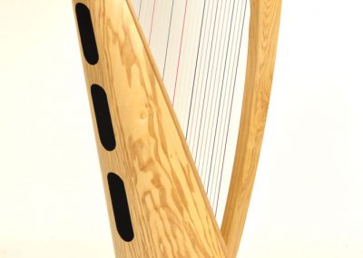Back view of a Telynau Teifi 34-string Telor folk lever harp in ash