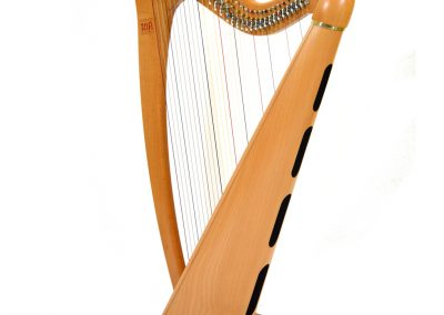 Back view of a Telynau Teifi 34-string Telor folk lever harp in beech