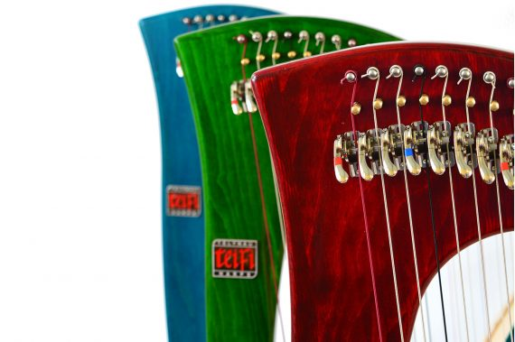 blue, green, and red siff saff beginners harps