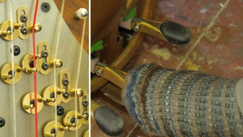 Concert harp disks and pedals
