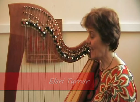 Harpist Eleri Turner demonstrates some simple tunes