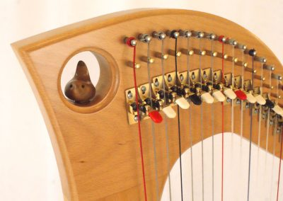 A customised Telor lever harp with a wren