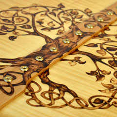 Harp soundboard decoration with Celtic knotwork pyrography