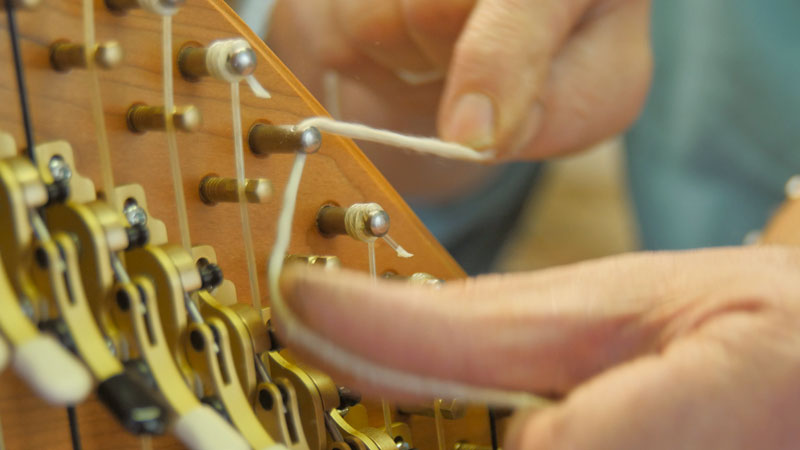 Flossing a harp tuning pin