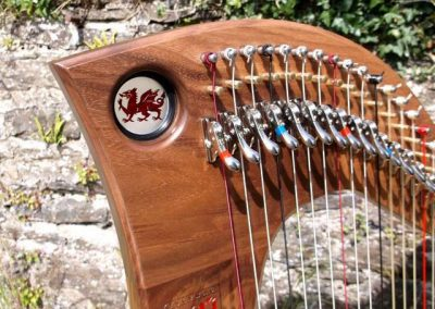 Harp with stained glass porthole - Welsh dragon design