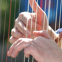 Harpist's hands on strings