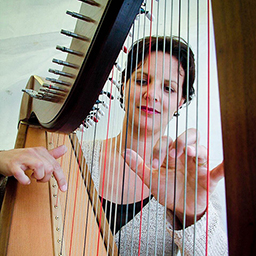 harpist playing teifi harp