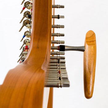 Harp with tuning key