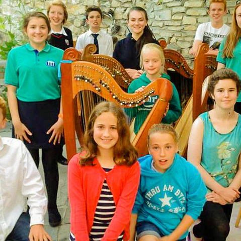 Local children with their Teifi Harps