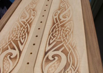 Harp soundboard pre-lacquering with Celtic knotwork pyrography