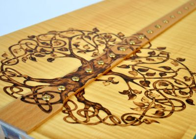 Soundboard decoration - Celtic tree design in pyrography