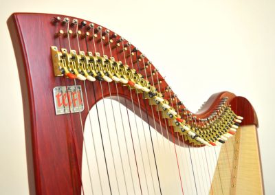 Neck view of a Siff Saff lever harp in red