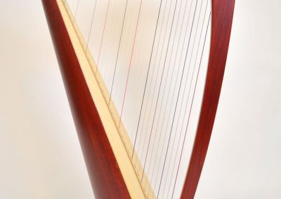 Side view of a Siff Saff lever harp in red
