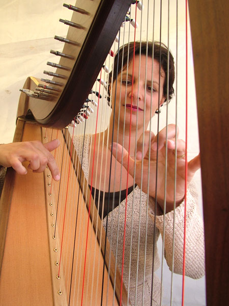 Harpist playing a hired Telynau Teifi lever harp