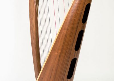 Back view of a Teifi Telor 34 String Folk Lever Harp in Harlequin (Wood Mix)