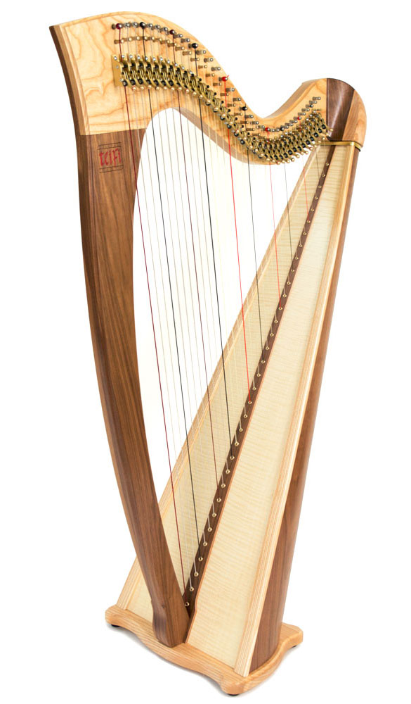 Telynau Teifi 34-String Telor folk lever harp in harlequin wood mix