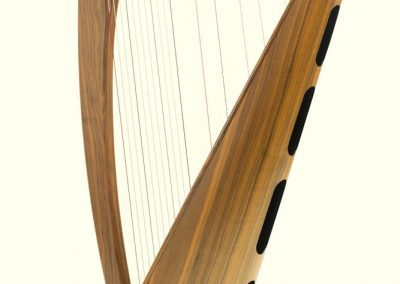 Back view of a Telynau Teifi 34-string Telor folk lever harp in walnut