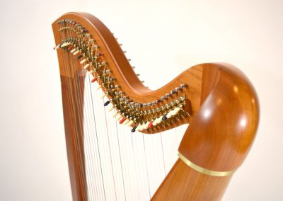 Shoulder view of a Telynau Teifi 34-string Telor folk lever harp in cherry