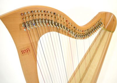 Neck view of a Telynau Teifi 34-string Telor folk lever harp in beech