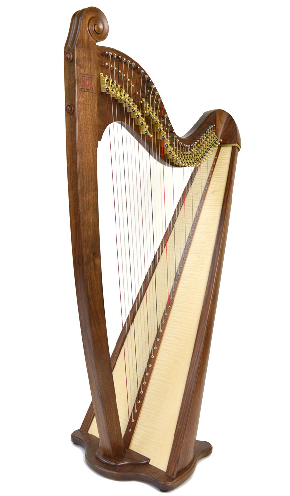 Telynau Teifi 36-string Eos concert gauge Celtic lever harp in walnut